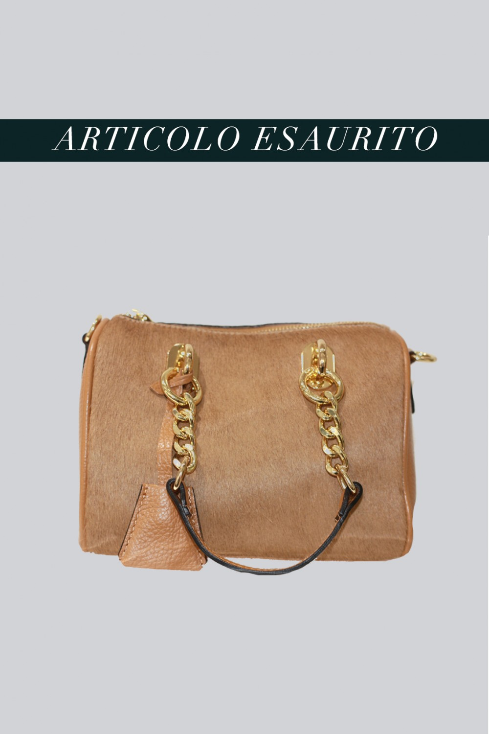 Mini bauletto in cavallino beige