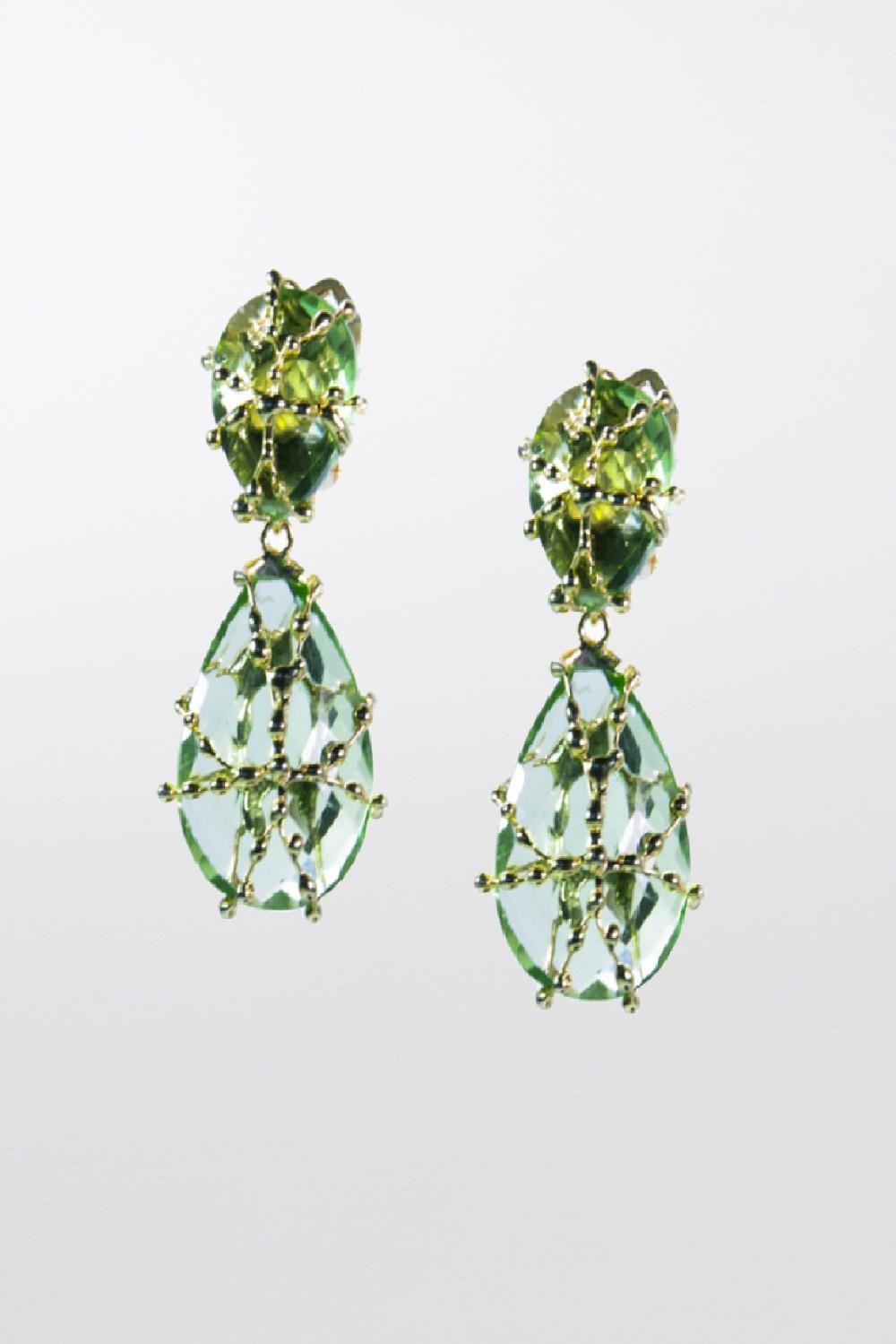 Orecchini con cristallo verde