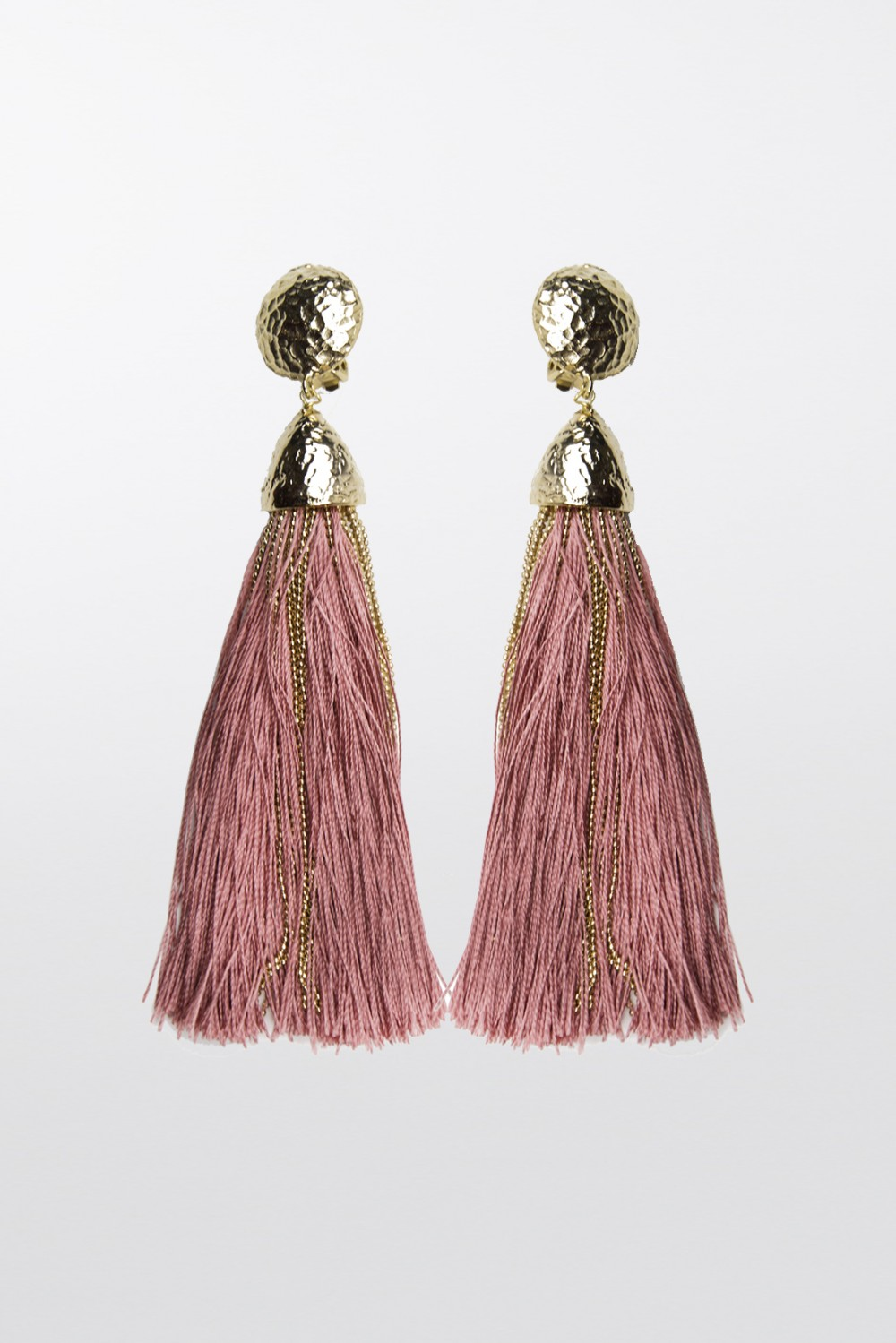 Orecchini in corda oro e rosa