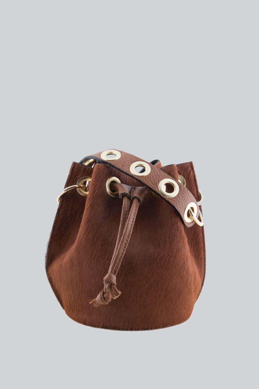 Mini secchiello in cavallino marrone