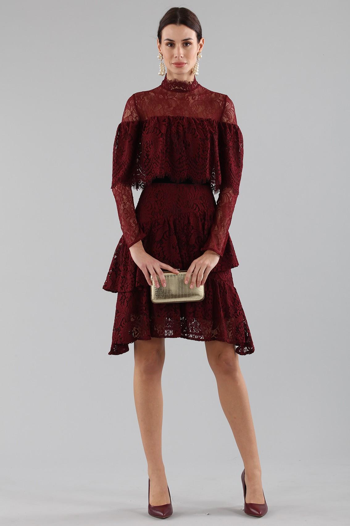fe67a74699e1 Acquista un abito Perseverance - Abito corto burgundy con balze e ...
