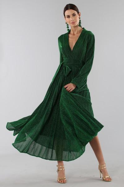 Abito glitterato verde con manica lunga