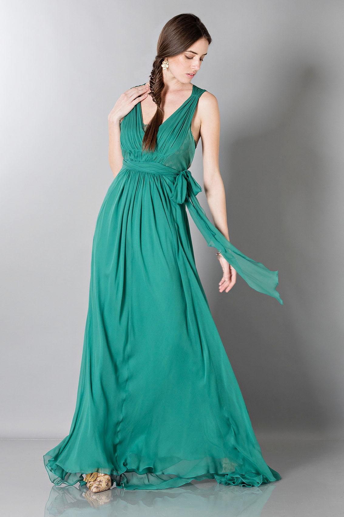 Drexcode - Alberta Ferretti Empire-inspired silk dress | Rent luxury ...